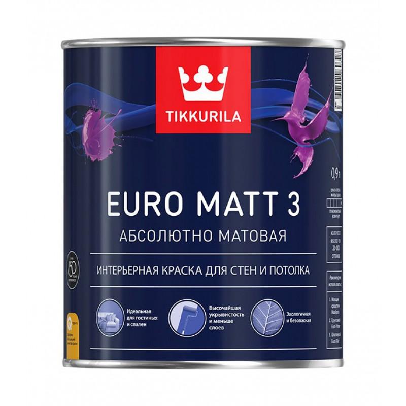 Краска водно-дисперсионная интерьерная Tikkurila EURO MATT 3 основа C 0,9 л