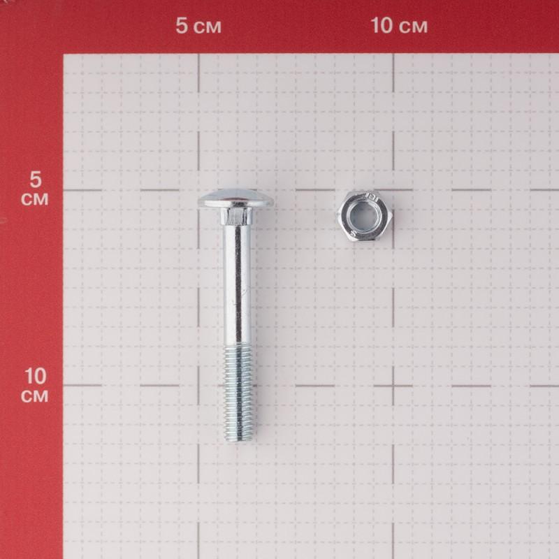 Болт мебельный оцинкованный 8х60 мм DIN 603 полусферическая головка с гайкой (4 шт.) (фото 2)
