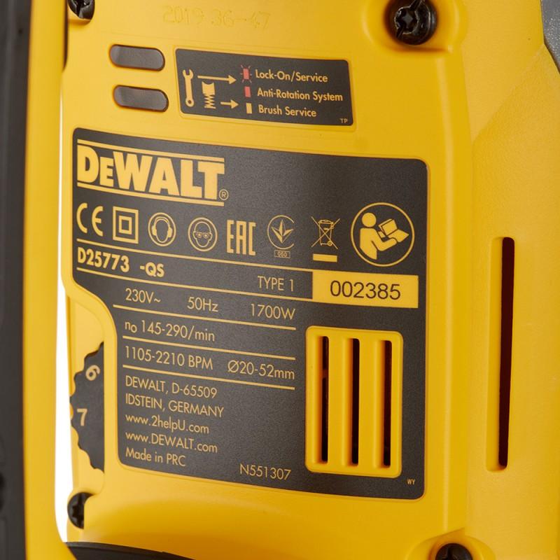 Перфоратор электрический DeWalt D25773K (199866) 1700 Вт 19,4 Дж SDS-max (фото 8)