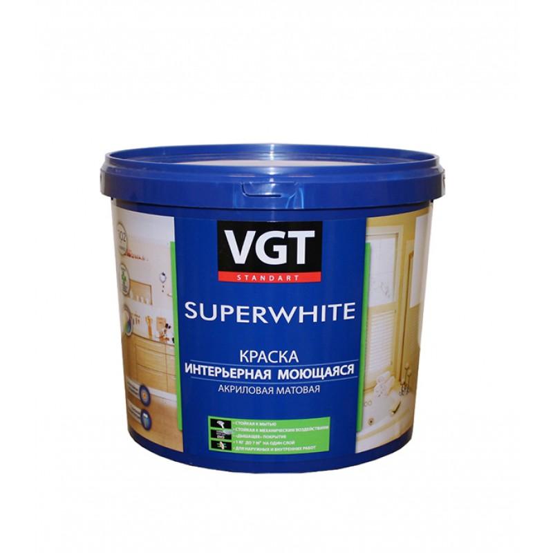Краска водно-дисперсионная VGT моющаяся белая основа А 4 л/6 кг