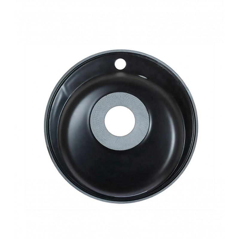 Мойка для кухни GRANULA Standart 480х480х190 мм врезная круглая без крыла кварц черный (фото 3)