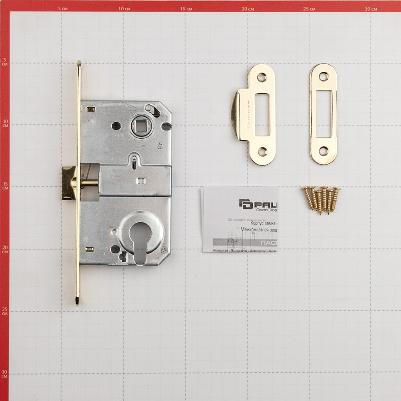 Замок врезной Palladium 385 PB для межкомнатной двери под цилиндр (латунь) (фото 2)