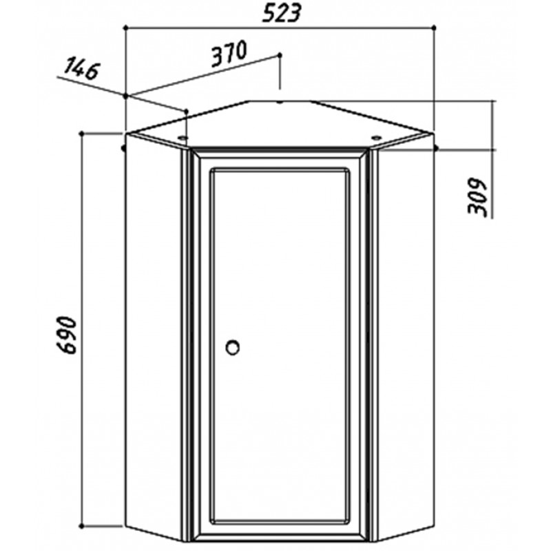 Шкаф BELUX Адажио 380 мм подвесной угловой белый
