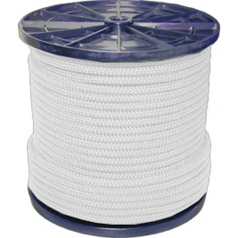 Шнур плетеный полипропиленовый 12 прядей белый d6 мм повышенной плотности