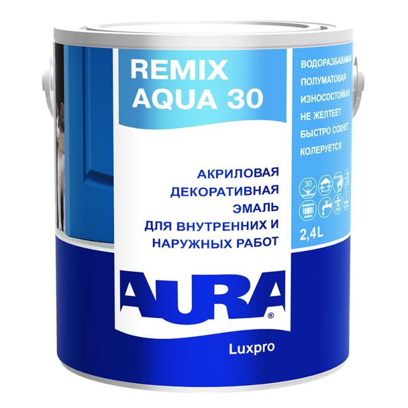 Эмаль акриловая Aura Remix Aqua 30 полуматовая бесцветная основа TR 2,4 л