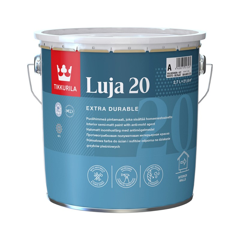 Краска водно-дисперсионная Tikkurila Luja 20 Puolihimmea моющаяся белая основа А 2,7 л