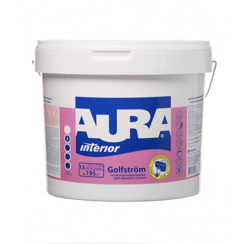 Краска водно-дисперсионная Aura Interior Golfstrom особопрочная для ванной и кухни моющаяся белая основа А 15 л
