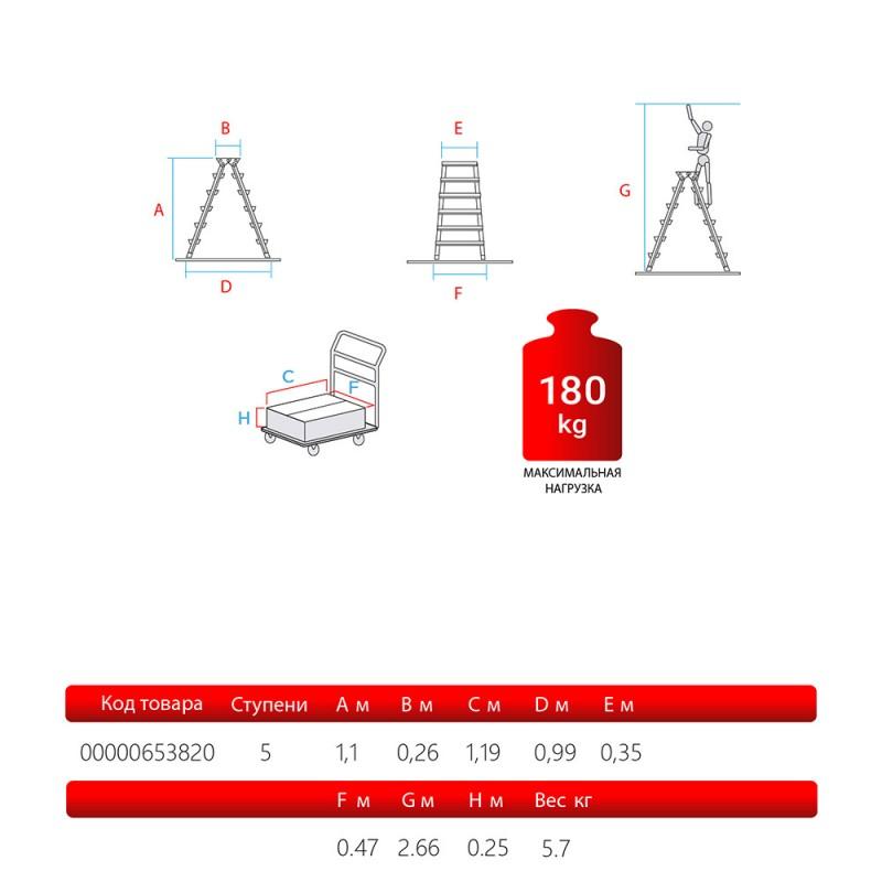 Стремянка Новая высота 5 ступеней 110 см алюминиевая двухсторонняя ступень 80 мм (фото 3)