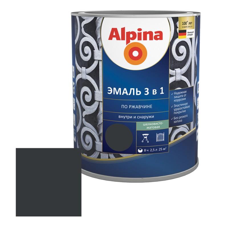 Эмаль по ржавчине Alpina черная RAL 9005 3в1 шелковисто-матовая 2,5 л