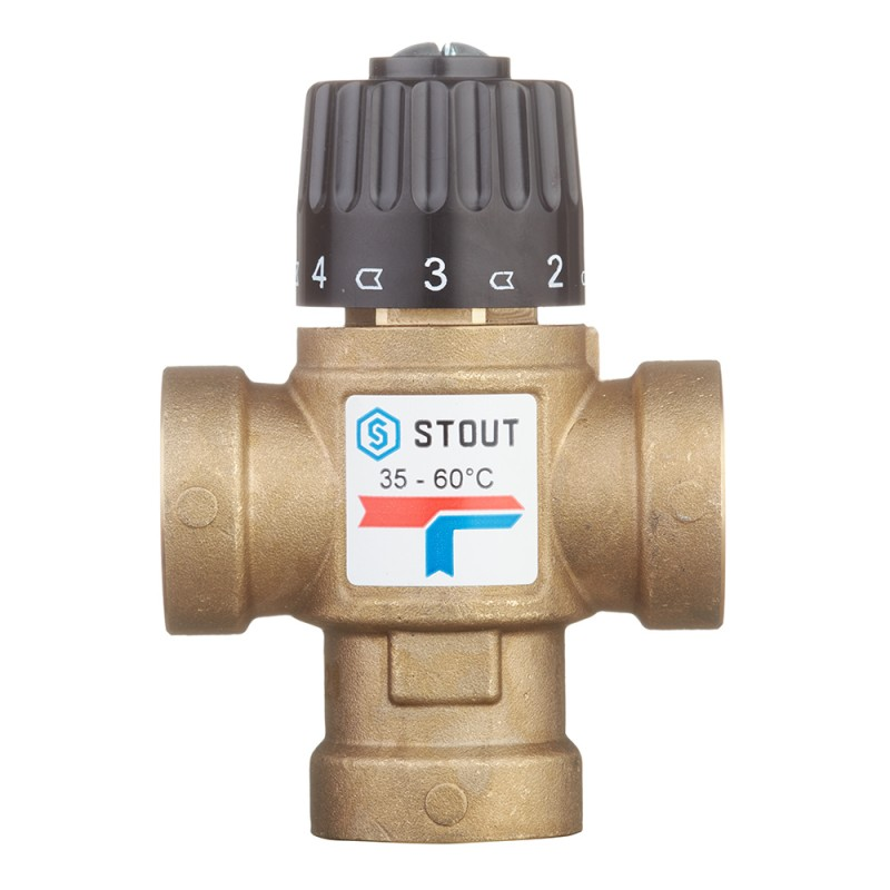 Клапан (вентиль) термостатический Stout (SVM-0110-166020) подмешивающий 3/4 ВР(г) для систем отопления и ГВС 35-60 °С KVs 1,6
