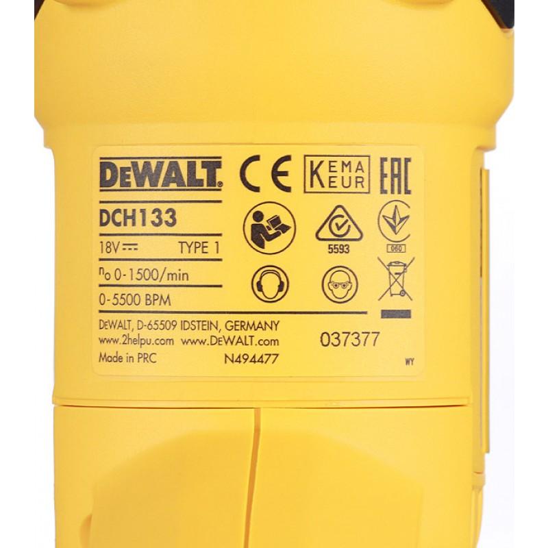 Перфоратор аккумуляторный DeWalt DCH133N 2,6 Дж 18В Li-Ion SDS-plus без АКБ и ЗУ (фото 7)
