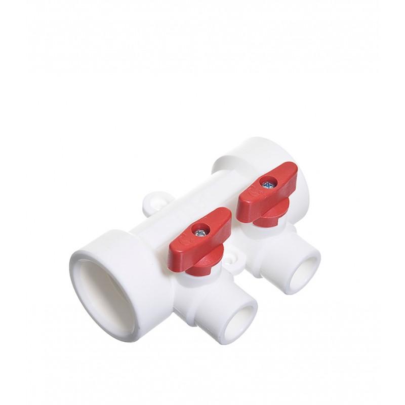 Коллектор полипропиленовый Tebo (О15091201) 40 мм х 2 выхода 20 мм х 40 мм
