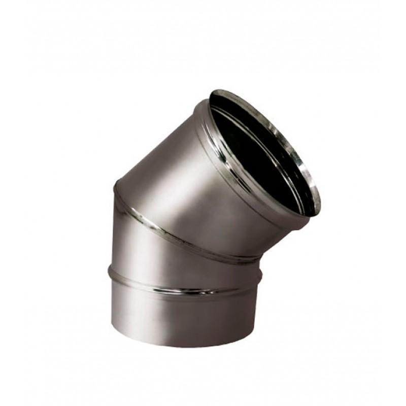 Отвод 45° х d150 мм на расширителе зеркальный без изоляции AISI 304