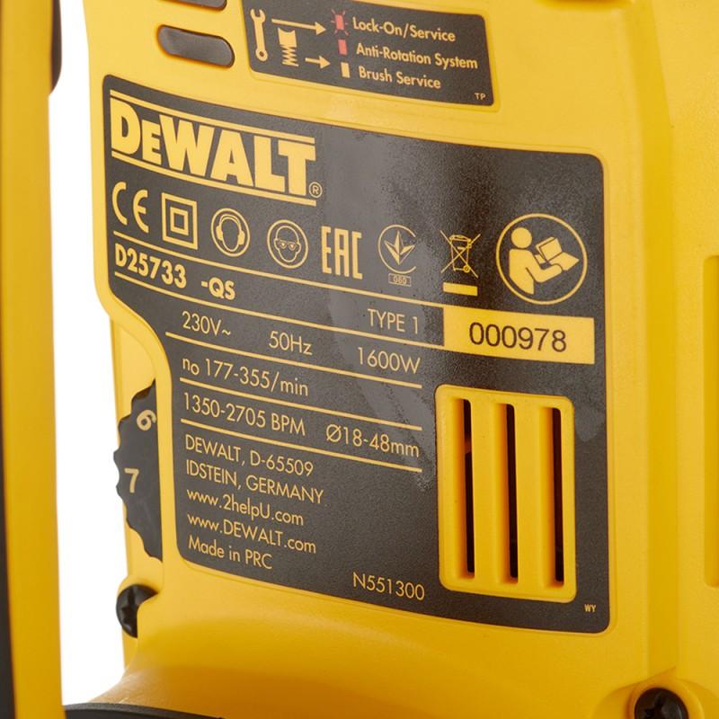 Перфоратор электрический DeWalt D25733K 1600 Вт 19,4 Дж SDS-max (фото 9)