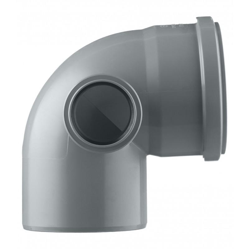 Отвод Pro Aqua Comfort d110 мм 87,5° пластиковый с выходом d50 мм левый для внутренней канализации