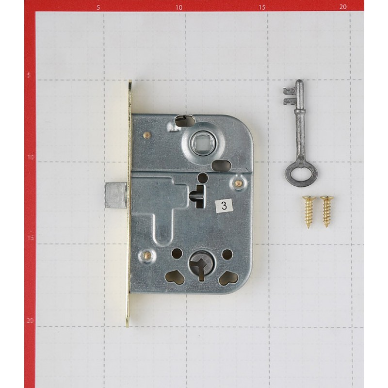 Замок врезной 2014 для межкомнатной двери под завертку (золото) 1 ключ (фото 2)