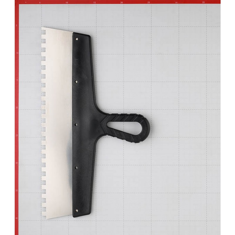 Шпатель зубчатый 350х8 мм с пластиковой ручкой