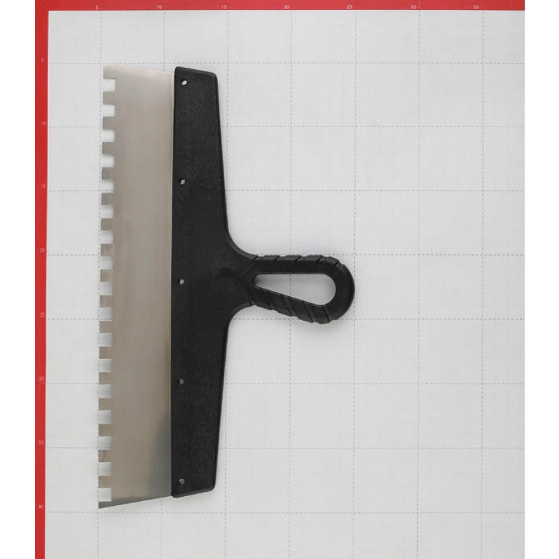 Шпатель зубчатый 350х10 мм с пластиковой ручкой