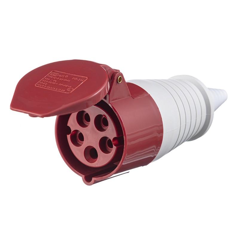 Розетка кабельная Dekraft РП-102 прямая переносная 3Р+РЕ+N 3 фазы 16 А 380 В IP44