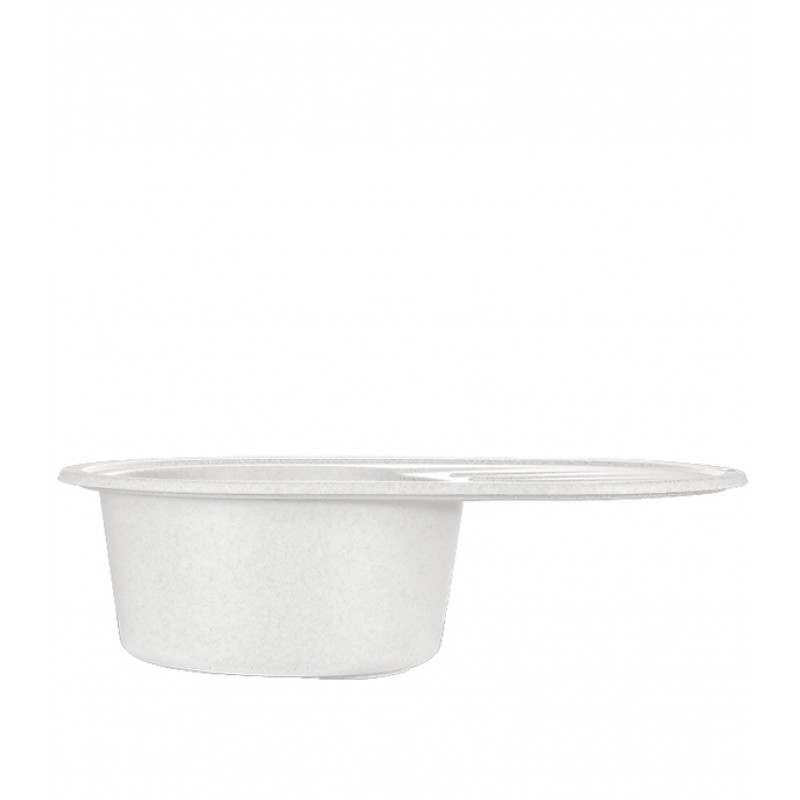 Мойка для кухни GRANULA Standart 760х500х200 мм врезная овальная с крылом кварц белый