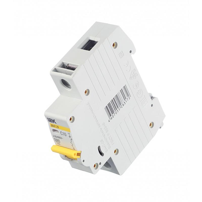 Автоматический выключатель IEK ВА 47-29 (MVA20-1-010-C) 1P 10А тип C 4,5 кА 220 В на DIN-рейку