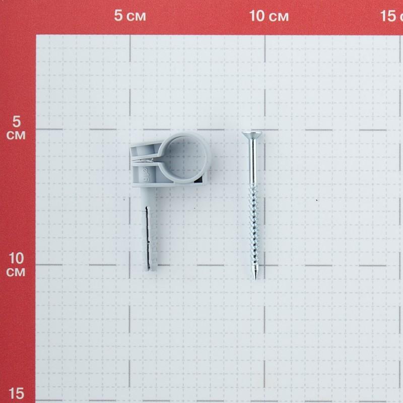 Хомут сантехнический 16-18 мм пластик с дюбелем для крепления трубы (5 шт.)