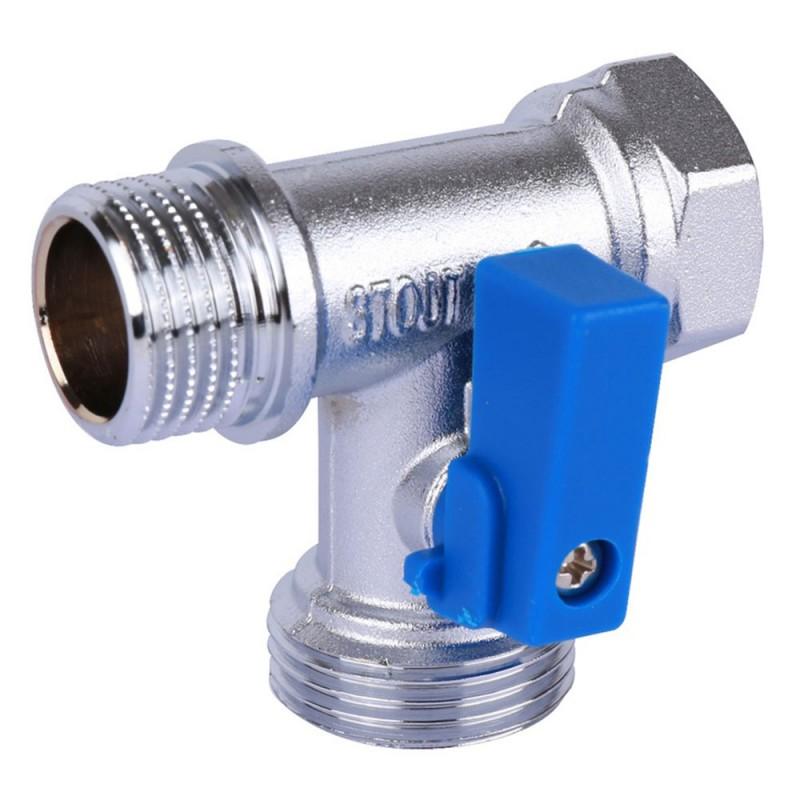 Кран шаровой латунный Stout (SVB-0124-123412) 1/2 ВР(г) х 3/4 НР(ш) х 1/2НР (ш) к бытовой технике мини проходной