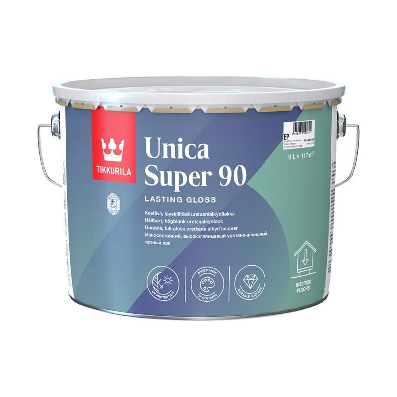 Лак алкидно-уретановый яхтный Tikkurila Unica Super 90 основа EP бесцветный 9 л высокоглянцевый