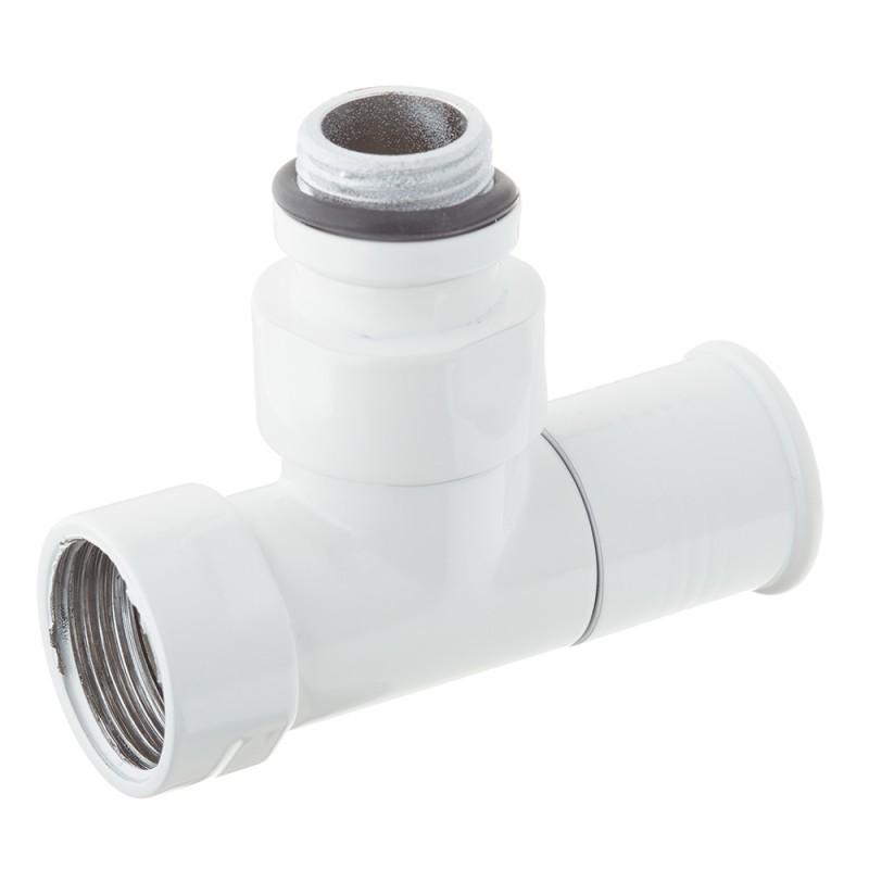 Вентиль с круглой ручкой к полотенцесушителю ЛД белый глянец (2 шт.)