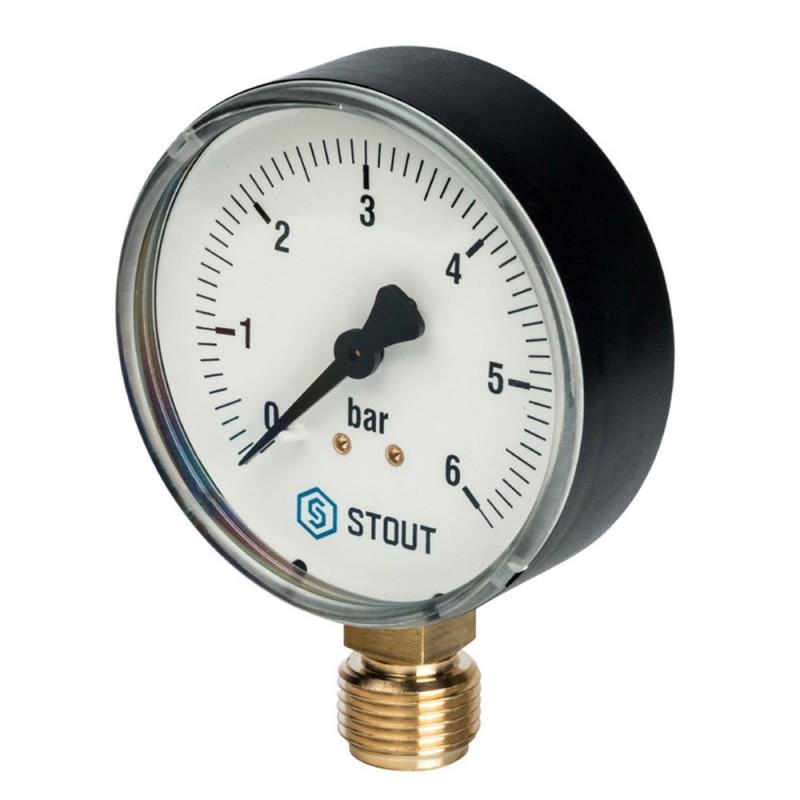 Манометр Stout (SIM-0010-800615) 1/2 НР(ш) радиальный 6 бар d80 мм