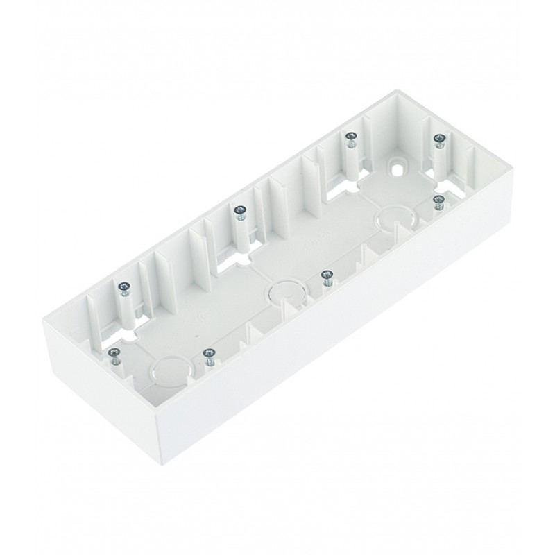 Коробка монтажная Simon 15 1590753-030 трехместная открытая установка белая (фото 2)