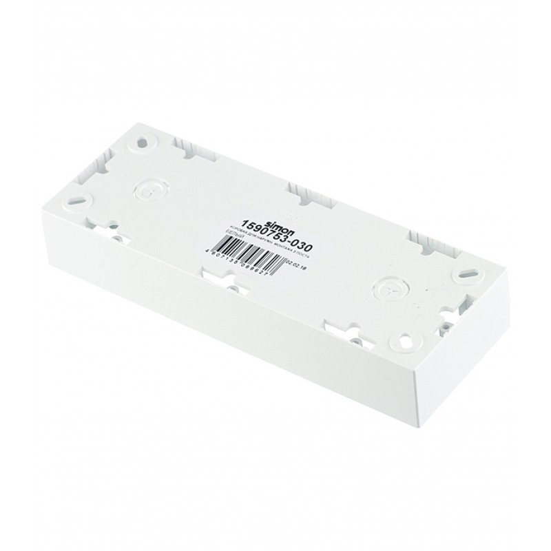 Коробка монтажная Simon 15 1590753-030 трехместная открытая установка белая (фото 3)