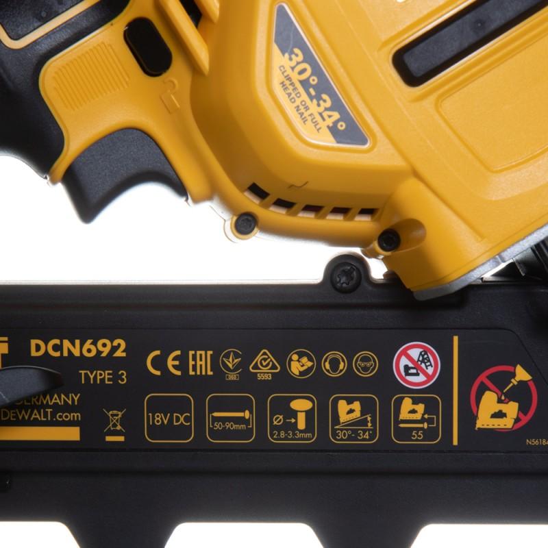 Гвоздезабивной пистолет аккумуляторный DeWalt DCN692P2-QW 18В 2х5Ач Li-Ion (фото 9)