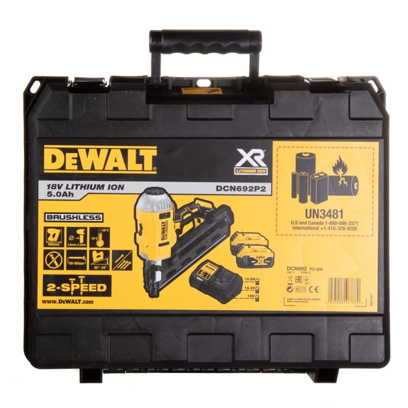 Гвоздезабивной пистолет аккумуляторный DeWalt DCN692P2-QW 18В 2х5Ач Li-Ion (фото 10)