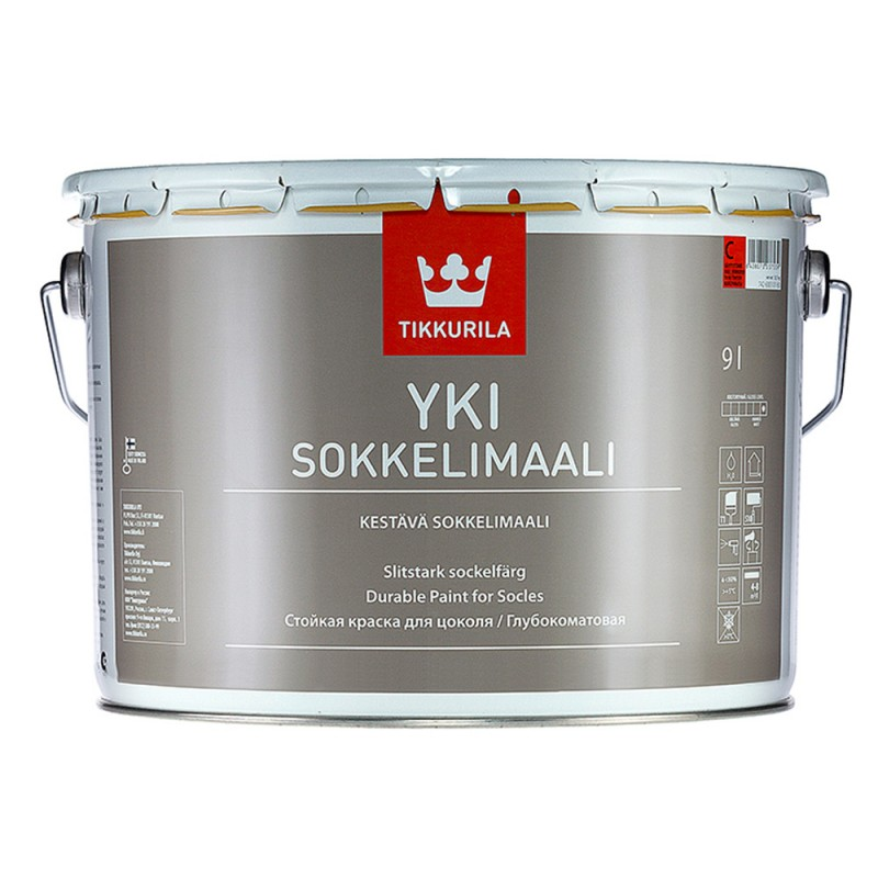 Краска водно-дисперсионная для цоколя Tikkurila Yki основа С 9 л