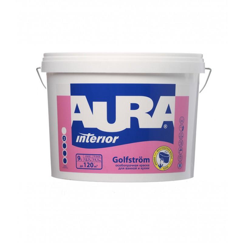 Краска водно-дисперсионная Aura Interior Golfstrom особопрочная для ванной и кухни моющаяся белая основа А 9 л