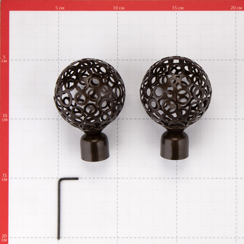Наконечник Шар ажурный d 20 мм шоколад 2 шт. (фото 3)