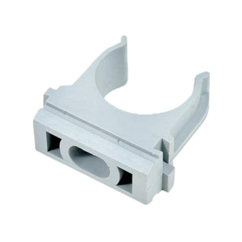 Крепеж-клипса для труб 16 мм темно-серая (10 шт.)