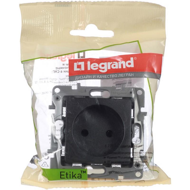 Розетка Legrand Etika 672634 скрытая установка антрацит без заземления со шторками винтовой зажим