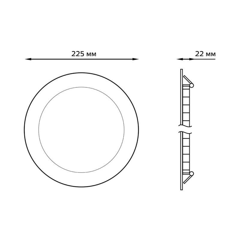 Светильник светодиодный встраиваемый Gauss d225 мм 18 Вт 185-265 В 4000 К естественный белый свет круглый IP20 белый
