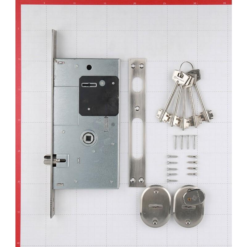 Замок врезной Palladium 0252RL SN для входной двери (никель) 5 ключей