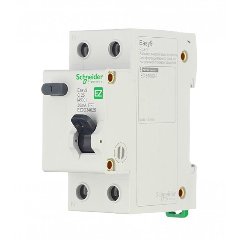 Автомат дифференциальный Schneider Electric Easy9 (EZ9D34625) 25А 30 мА 1P+N тип C 4,5 кА
