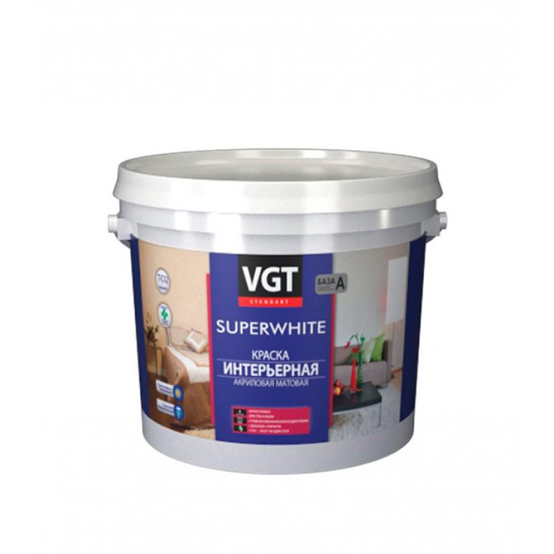 Краска водно-дисперсионная интерьерная VGT Super white белая основа А 5 л/7 кг