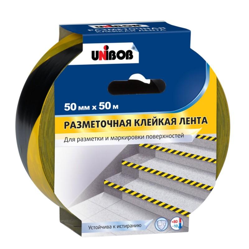 Лента клейкая разметочная Unibob желто-черные полоски 50 мм 50 м