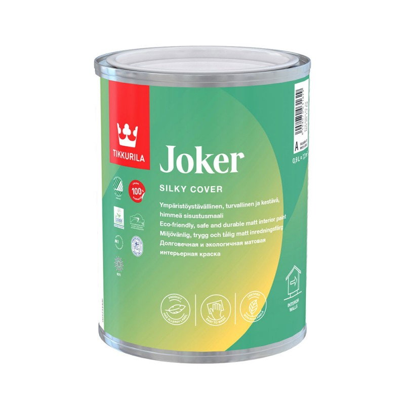 Краска водно-дисперсионная Tikkurila Joker моющаяся основа C 0,9 л