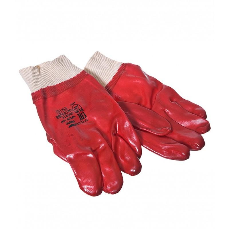 Хлопчатобумажные перчатки облитые ПВХ МБС манжета на резинке