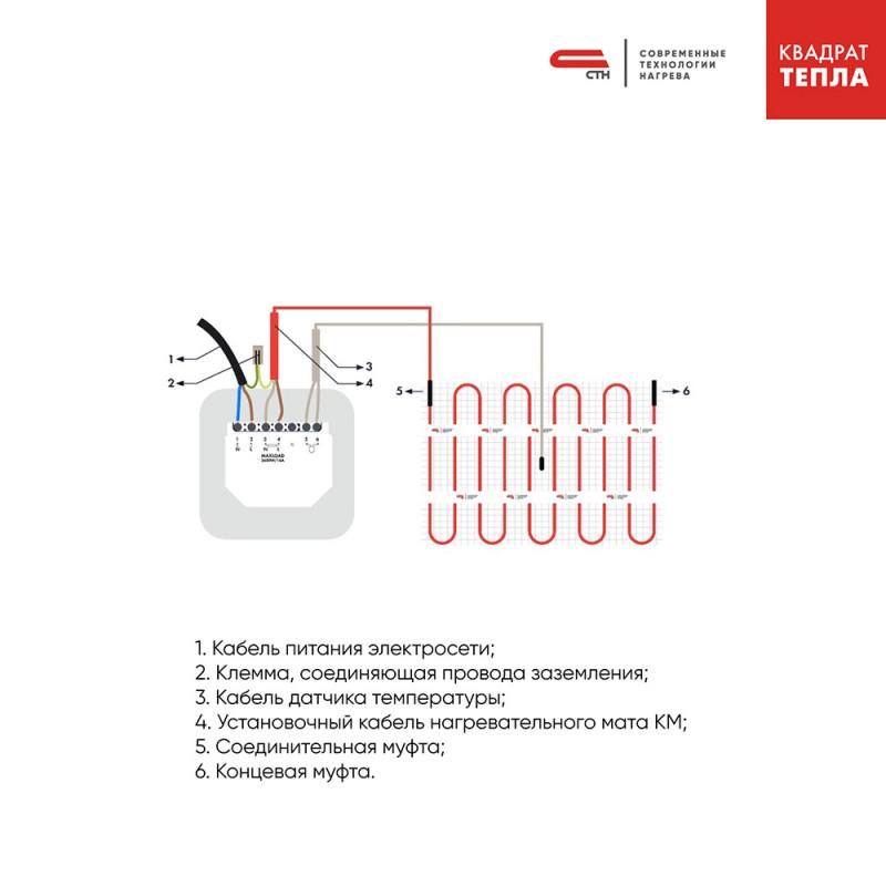Теплый пол нагревательный мат Квадрат тепла СТН КМ-1800-12,0 12 кв.м 150 (1800) Вт 120 м (фото 2)