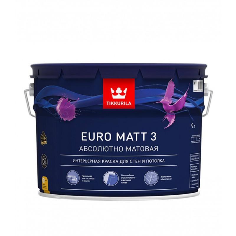 Краска водно-дисперсионная интерьерная Tikkurila EURO MATT 3 основа C 9 л