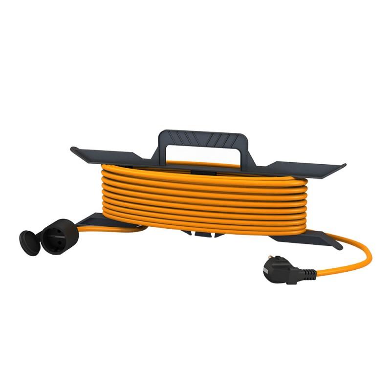 Удлинитель силовой на рамке Партнер Электро GardenLine PL03 (US205С-130OR) открытая установка с заземлением 30 м 10 А 220 В ПВС 3х1 мм2 1 розетка 2,5 кВт IP44 с брызгозащитой оранжевый