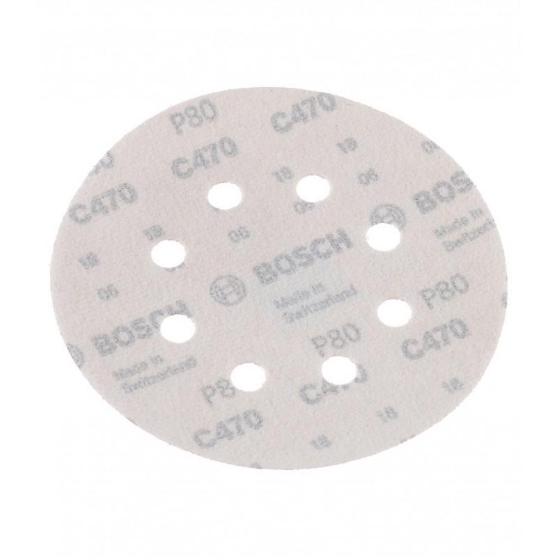 Диск шлифовальный d125 мм P80 на липучку перфорированный Bosch (5 шт.)